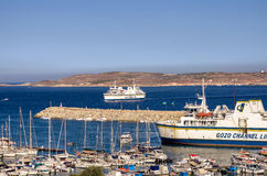Malta - Gozo, Mgarr. Panoramic view of the entry port to Gozo - Mgarr, Gozo, Malta Royalty Free Stock Photography