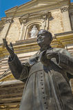 Malta - Gozo, Pope John Paul II. Statue of Pope John Paul II in front of the Cathedral of Assumption of the Blessed Virgin Mary into Heaven (Santa Marija Assunta Stock Photography