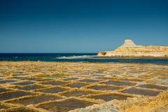 Malta, Gozo salt pans. On a clear day royalty free stock photos