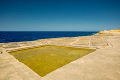 Malta, Gozo salt pans. Clear sunny day Stock Images