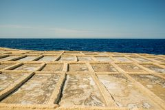Malta, Gozo salt pans. Malta, Gozo island salt pans stock photography