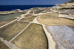 Malta - Gozo - Salt Pans at Qbaijar. Salt Pans at Qbaijar near Marsalforn on the island of Gozo - Malta. Sea water evaporates to leave deposits of salt crystals Royalty Free Stock Image