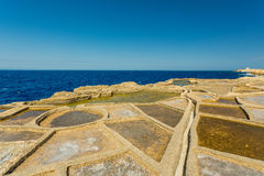 Malta, Gozo salt pans. On a sunny day Stock Images