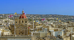 Malta - Gozo, Victoria. Panoramic view of the main Gozo town from the Citadel (Il-Kastell) - Victoria or Rabat, Gozo, Malta Stock Photos