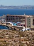 Malta and Gozo view. Hotel in Mellieha , Malta. Gozo view at the horizon Royalty Free Stock Photos