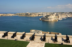 Malta Grand Harbour. From the saluting battery at Valetta, overlooking fort St Angelo, Grand Harbour, Valetta, Malta Royalty Free Stock Photos