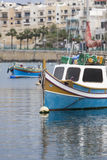 Malta harbor. Detail of a peculiar colored fishing boat in Malta Royalty Free Stock Photo