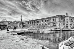Malta Harbour BW. Old historic warehouse at birgu harbour Royalty Free Stock Photography
