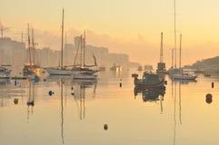 Malta. Harbour of Malta drowned in fog Stock Photo
