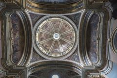 Dome of the Church of St Francis of Assisi Republic Street Valletta Malt. A. Valletta or Il-Belt is the tiny capital of the Mediterranean island nation of Malta royalty free stock images
