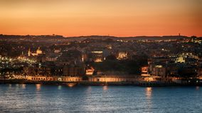 Malta: Il-Gzira and Marsans Harbour. Aerial view from city walls of Valletta at sunset Royalty Free Stock Photography