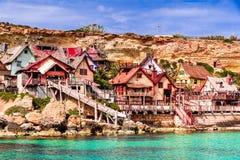 Malta, IL-Mellieha - villaggio di Popeye immagini stock