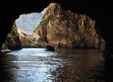 Malta, il sito pittoresco della grotta blu Immagini Stock