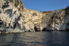 Malta, il sito pittoresco della grotta blu Fotografia Stock Libera da Diritti