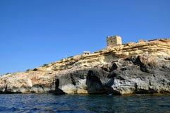 Malta, il sito pittoresco della grotta blu Fotografia Stock