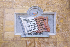 Memorial board of Malta Independence, in Valletta city Stock Photos