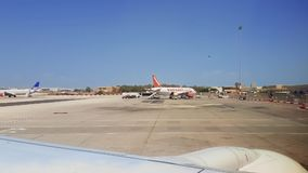 Malta International Airport MLA tarmac view with grounded airplanes. Maltese airport apron runway with SAS and Easyjet parked aircrafts, seen from inside stock video