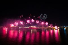Malta International Fireworks Festival 2017. Colourful fireworks over the Grand Harbour, in front of Fort St Angelo, Valletta, Malta, April 2017 Stock Images