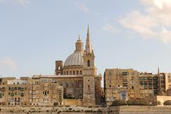Malta Island: The historic town of Valetta at the ferry-harbour. Malta Island: The historic town of Valetta-City at the ferry-harbour with the Cathedral Stock Images
