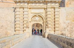 Malta island, history and nature. Mdina,  Malta - February 4, 2017: The main gate of the fortified medieval walls of the town Stock Photos
