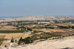 Malta island from Mdina fortress. Malta island. View from Mdina fortification Royalty Free Stock Images
