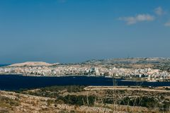 Malta in the Mediterranean Sea. Malta island in the waters of the Mediterranean Sea Stock Images