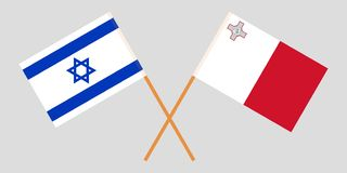 Malta and Israel. The Maltese and Israeli flags. Official colors. Correct proportion. Vector. Illustrationn royalty free illustration