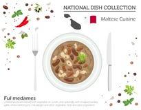 Malta kokkonst Europeisk nationell maträttsamling Maltesisk fava b stock illustrationer