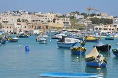 Malta, la città pittoresca di Marsaxlokk Fotografia Stock Libera da Diritti