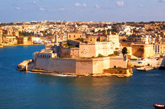 Malta La Valetta, Kalkara island. Panoramic view Kalkara Island and Fort Saint Angelo, La Valetta, Malta Royalty Free Stock Photos