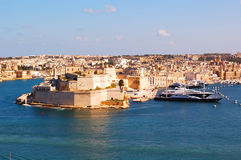 Malta La Valetta Kalkara island. Panoramic view Kalkara Island and Fort Saint Angelo, La Valetta, Malta Stock Images