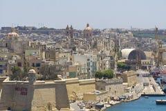Malta La Valletta, panoramautsikt av hamnen Arkivfoto
