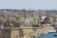 Malta La Valletta,panoramic view of the harbor. La Valletta,panoramic view of the harbor Stock Photo