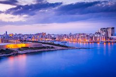 Malta, La Valletta and Silema. Malta nightview of Marsamxmett Harbour and Silema city, Valletta Royalty Free Stock Images