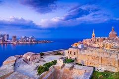 Malta, La Valletta and Silema. Valletta, Malta. Nightview of Marsamxmett Harbour and Silema city, Valletta Royalty Free Stock Image