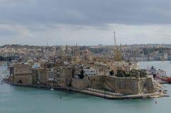 Malta: La vista sopra il porto di Vittoriosa a Cospicua fotografia stock libera da diritti