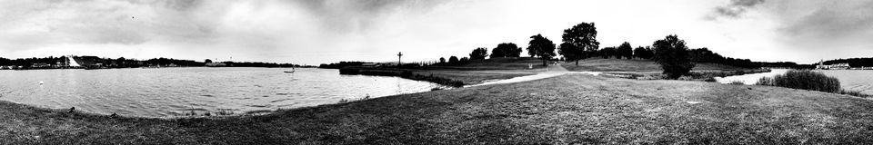 Malta lake. Artistic look in black and white. Panoramic view on the Malta lake in Poznan, Poland Royalty Free Stock Photo