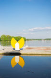Malta lake Poznan. Malta lake with an yellow ornament in Poznan, Poland Stock Photography