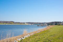Malta lake. View of green grass by the Malta lake in Poznan, Poland Royalty Free Stock Images