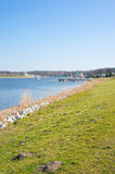 Malta lake. View of green grass by the Malta lake in Poznan, Poland Royalty Free Stock Photography