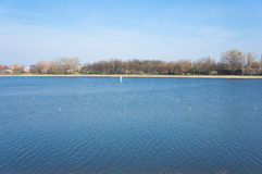 Malta lake. View of Malta lake with trees in the background in Poznan, Poland Royalty Free Stock Photo