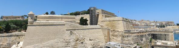 Malta landmark. Aerial panorama of Valletta, Malta featuring the Fort Lascaris, Upper Barrakka Gardens and artillery Battery Stock Photography