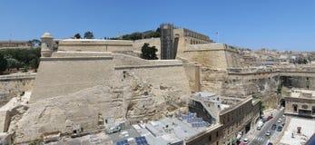 Malta landmark. Aerial panorama of Valletta, Malta featuring the Fort Lascaris, Upper Barrakka Gardens and artillery Battery Stock Images