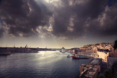Malta landscape. Harbor with boats Stock Images