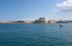 Malta, Landscape of the fort St. Angelo opposite of Valletta. Beautiful landscape of the Three Cities and the fort of St. Angelo, located in the bay, opposite Royalty Free Stock Photos
