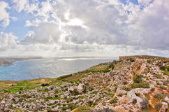 Malta. Landscape on Malta island with the sea and a nice sky Royalty Free Stock Photo