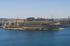 Malta los angeles Valletta, panoramiczny widok schronienie Fotografia Stock