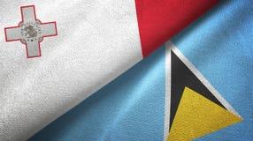 Malta Lucia i święty dwa flagi tekstylny płótno, tkaniny tekstura ilustracji