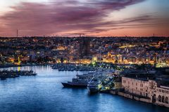 Malta: Manoel Island, Il-Gzira and Marsans Harbour. Aerial view from city walls of Valletta at sunset Royalty Free Stock Photo