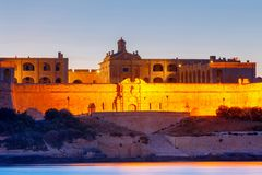 Malta. Manoel Island on the sunset. Royalty Free Stock Photos